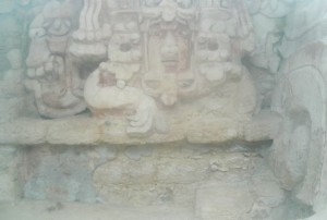 Mayan Fresco recently discovered - behind glass. Becan Mayan Ruins, Campeche, Mexico ©Susanna Starr